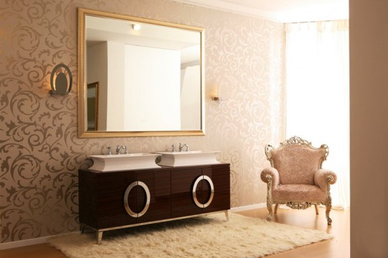 luxury bathroom furniture with gold or silver covering