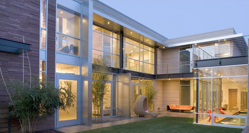 Luxury contemporary house design with floor to ceiling for Windows for houses design