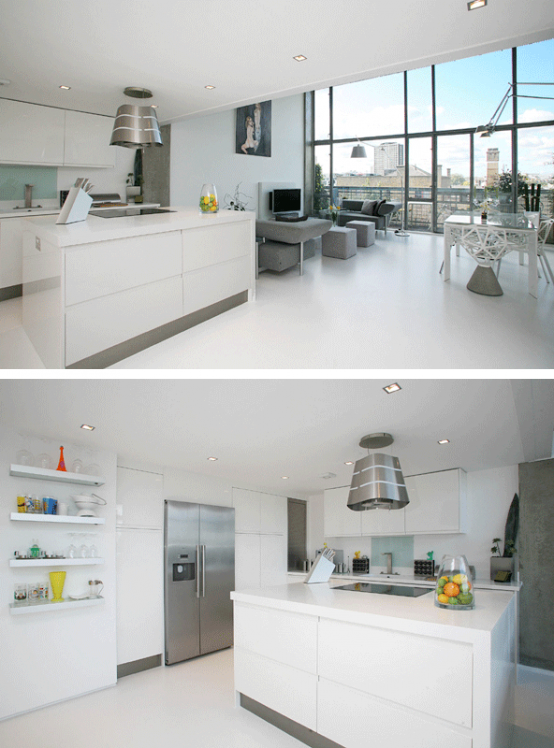 Luxury London loft's kitchen