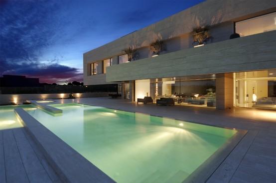Luxury minimalist house with spectacular swimming pool for Casa de lujo minimalista y espectacular con piscina por a cero