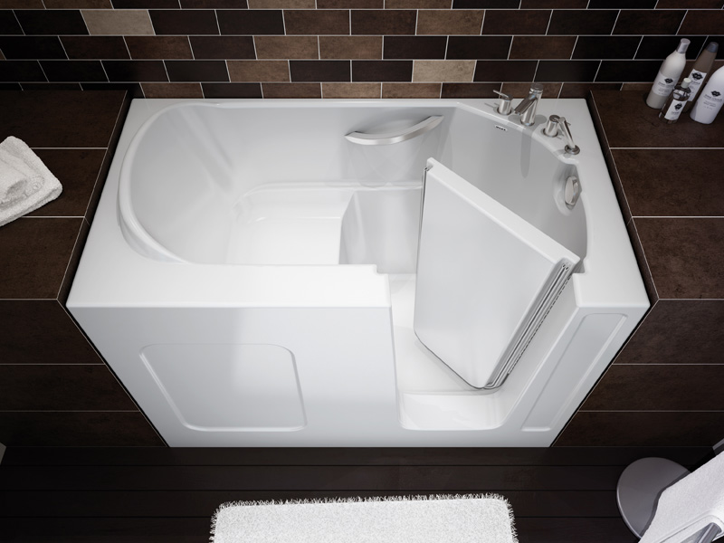 Compact walk in bathtub by maax professional digsdigs for Walk in tub bathroom designs