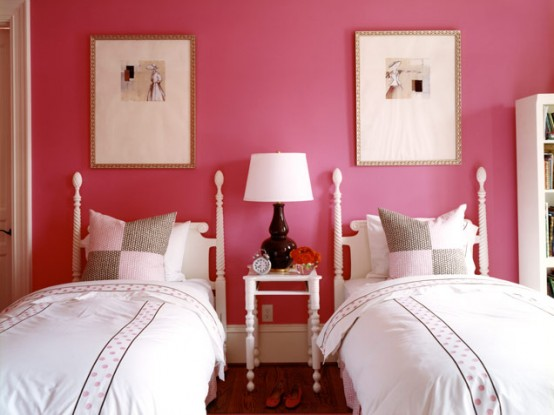 Magenta Bedroom For Two Girls