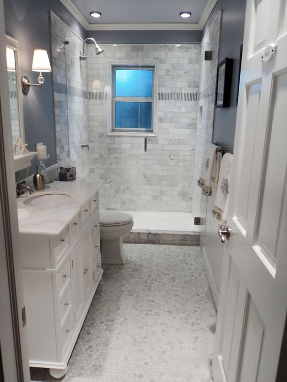 Lovely Marble Inspired Basement Bathroom Decor
