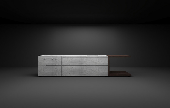Masculine Kitchen Furniture Design Of Concrete And Dark Wood ...
