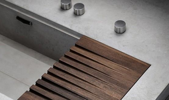 Masculine Kitchen Of Concrete And Dark Wood