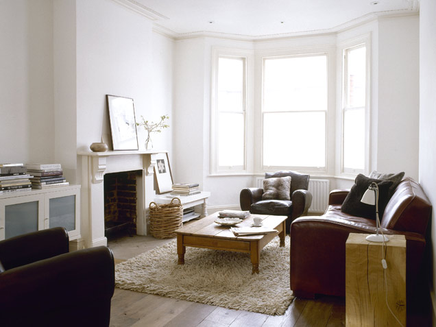 Masculine living room in neutral colors