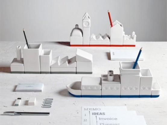 Masculine Porcelain Desk Organizers In Unusual Shapes