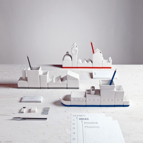 Masculine Porcelain Desk Organizers In Unusual Shapes