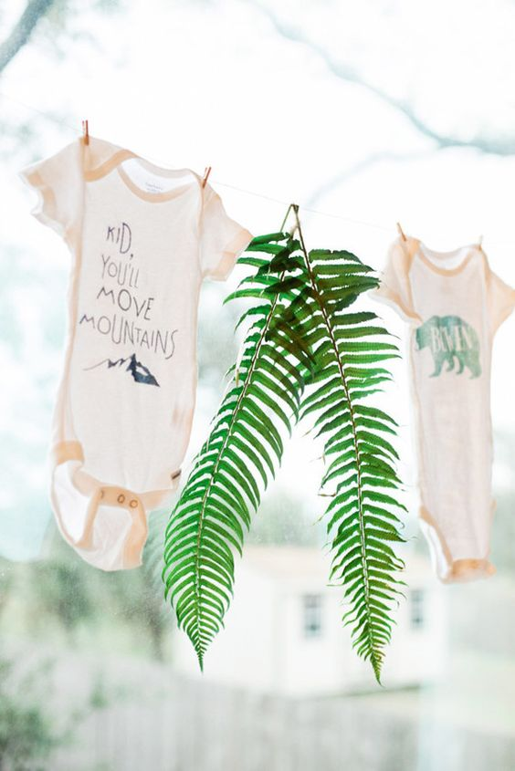 matinee shirt bunting for a modern baby shower