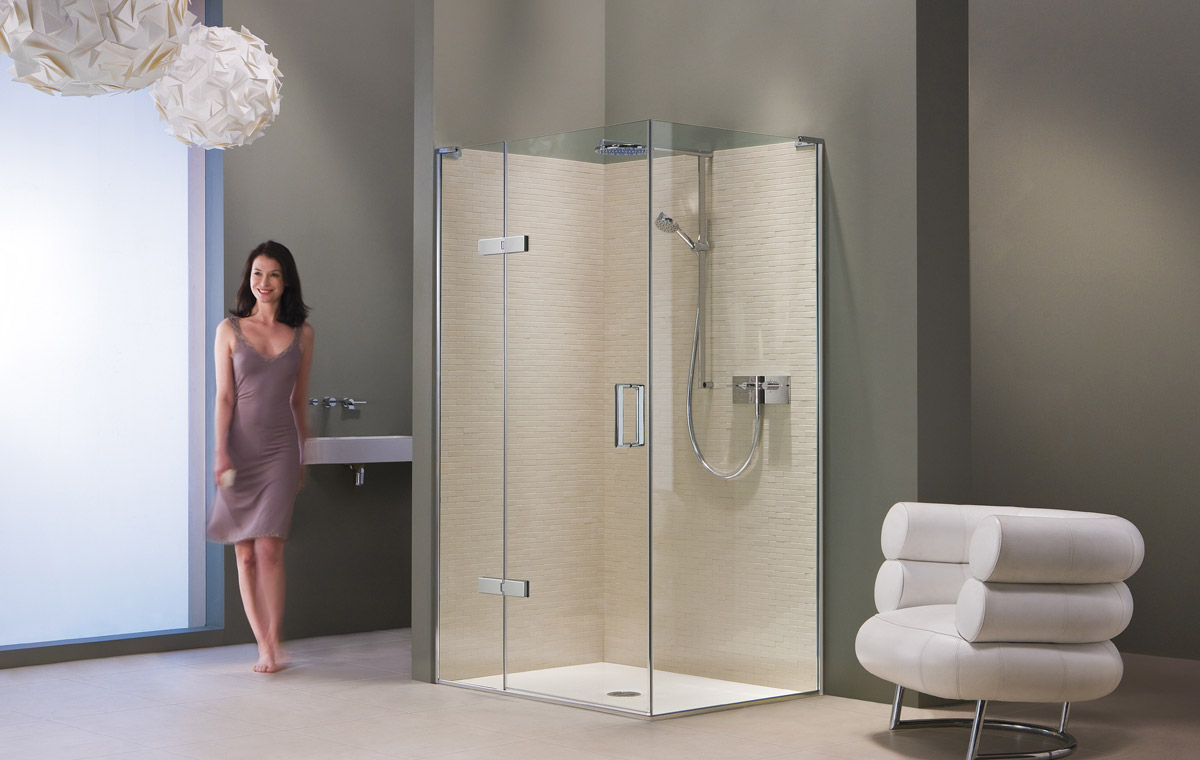 flexible shower enclosures with hinged doors and panels