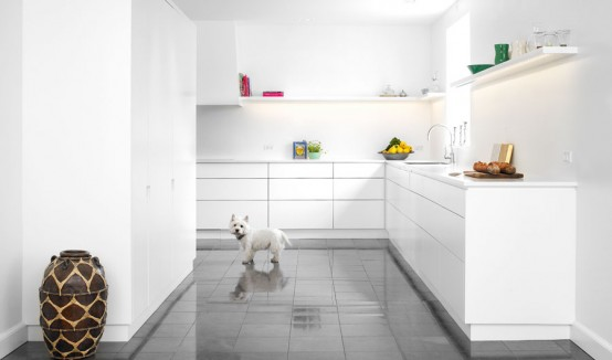 Matt White With Corian Kitchen