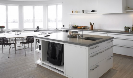 Matt White With Stainless Steel Kitchen