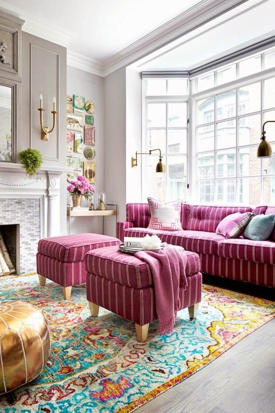 Metallic Grey And Bold Pink Home Decor Ideas
