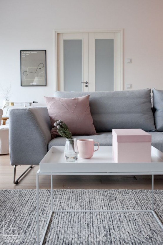 Grey And Pink Living Room Decor: Metallic Grey And Pink: 27 Trendy Home Decor Ideas
