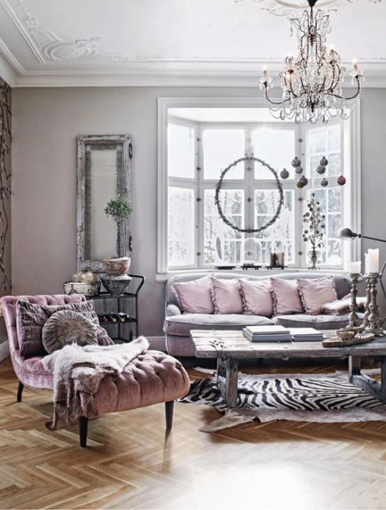 Metallic grey and pink 27 trendy home decor ideas digsdigs for Grey shabby chic living room ideas