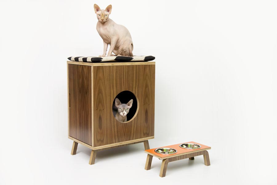 Mid century chic pet furniture by modernist cat digsdigs - Modern cat litter box furniture ...