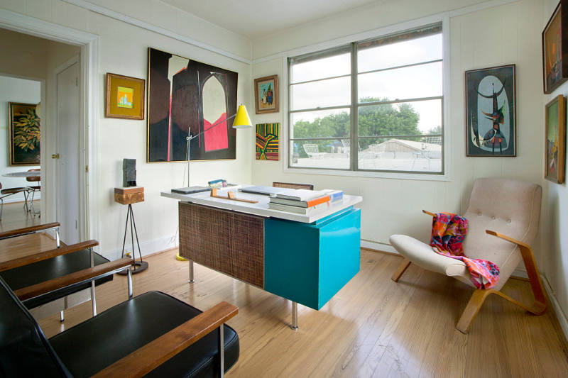 Picture Of mid century modern apartment in bold and lively shades  10