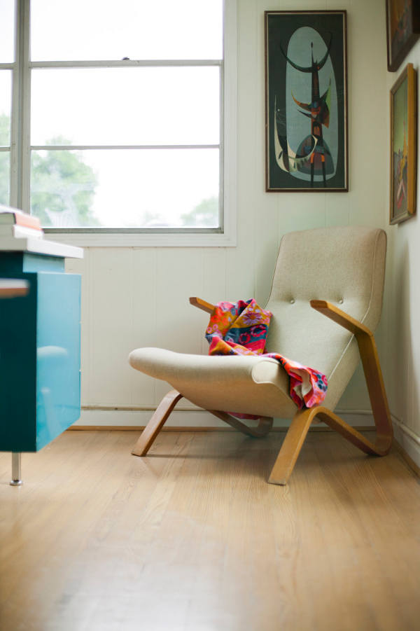 Picture Of mid century modern apartment in bold and lively shades  11