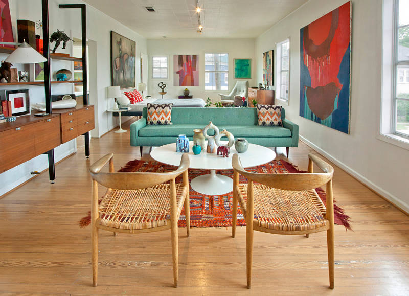 picture of mid century modern apartment in bold and lively