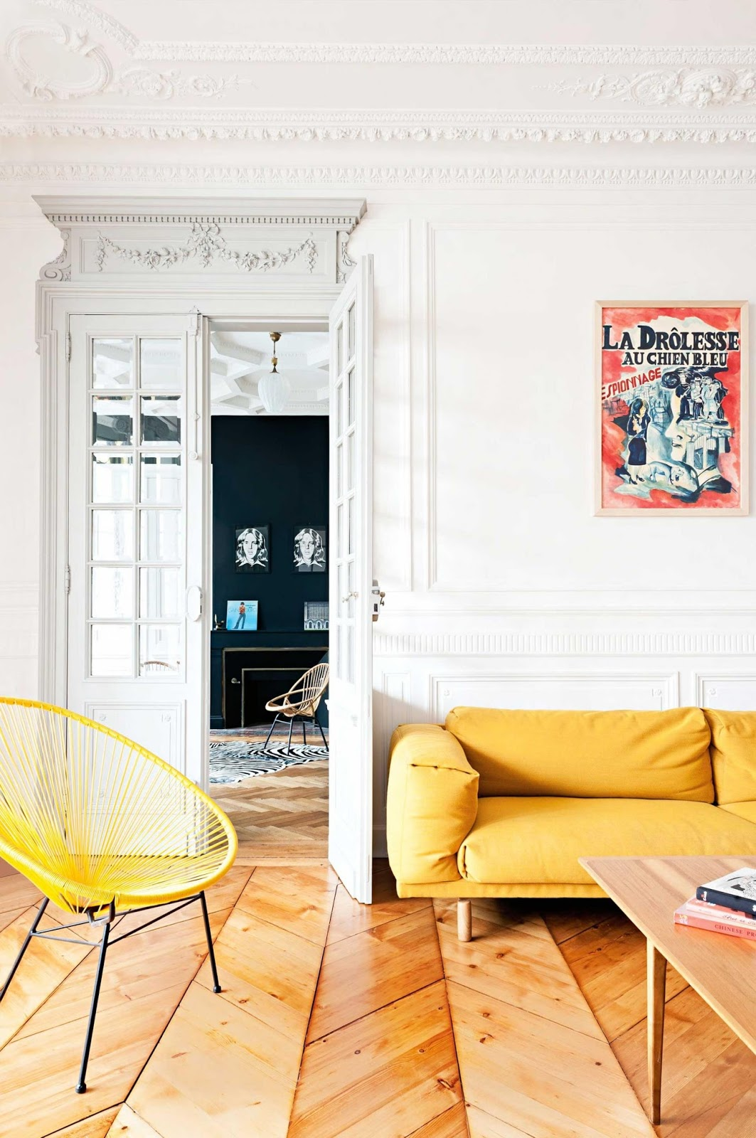 Picture Of mid century modern apartment with bold pops of color  1