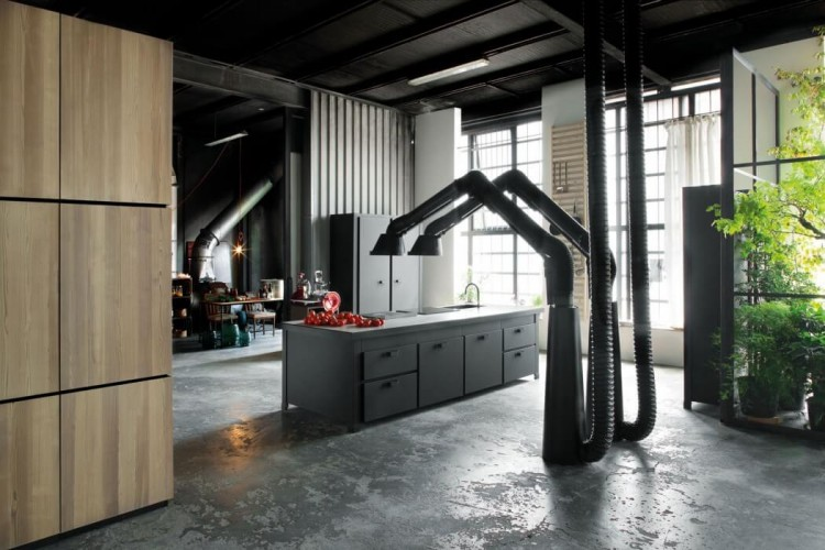 milan loft design with dark industrial metals in decor - digsdigs
