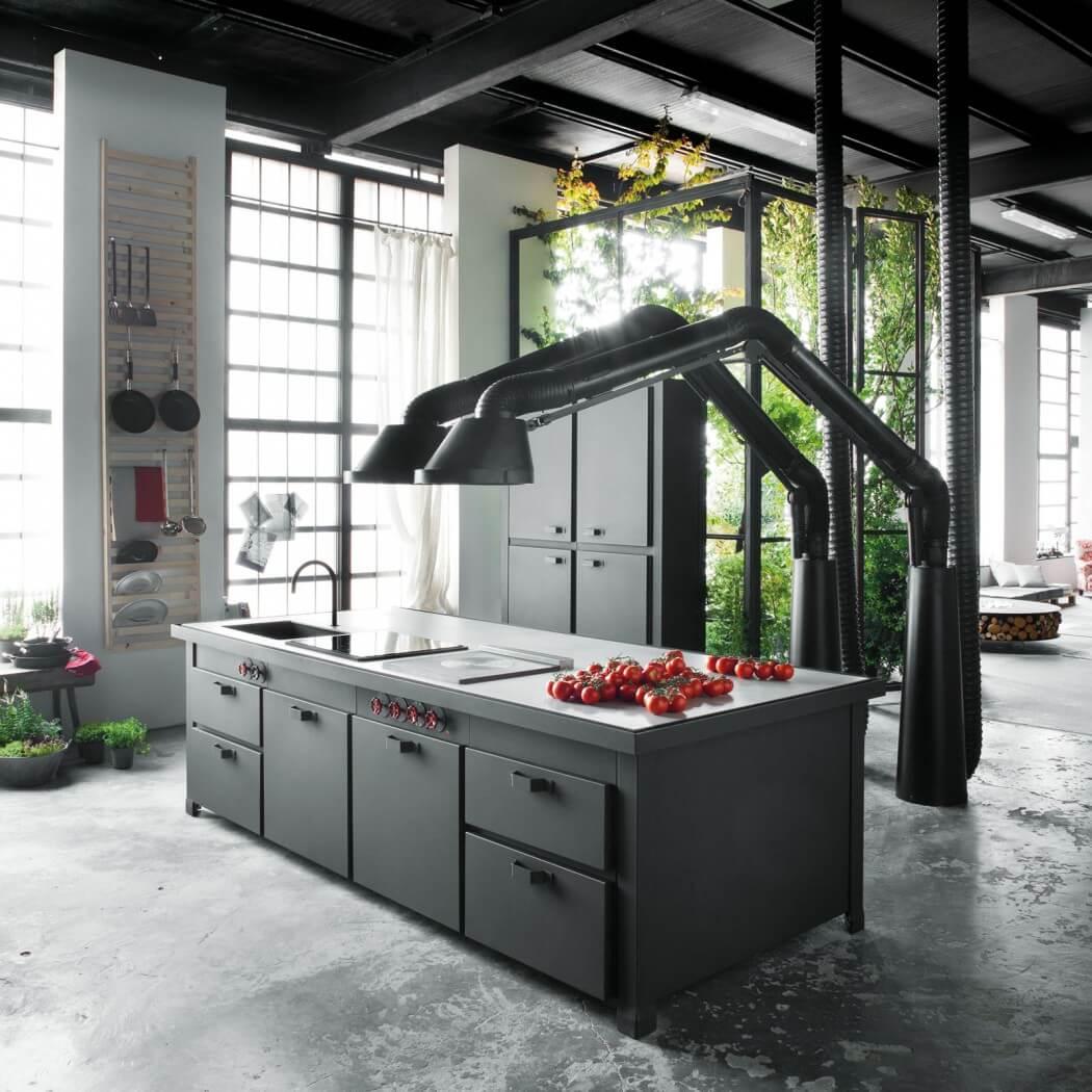 Picture Of milan industrial loft with dark industrial metals in decor  3