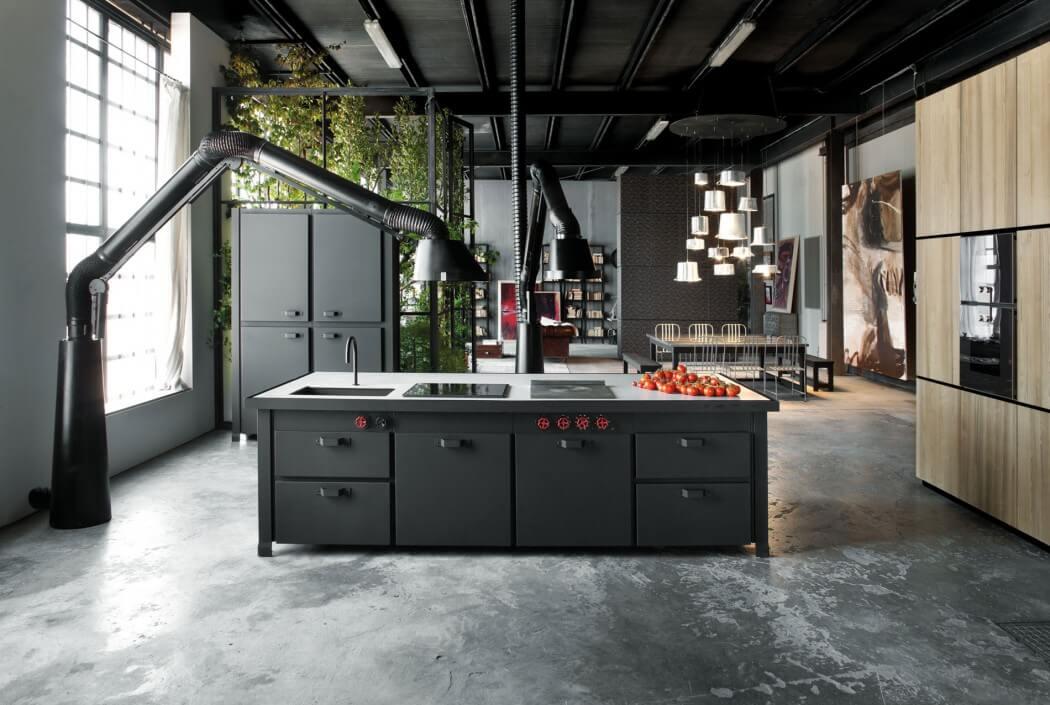 Picture Of milan industrial loft with dark industrial metals in decor  4