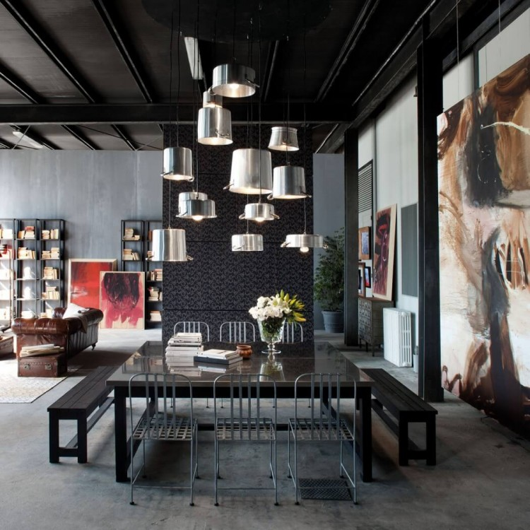 Industrial House Design And Decor For Stylish Appearance: Milan Loft Design With Dark Industrial Metals In Decor