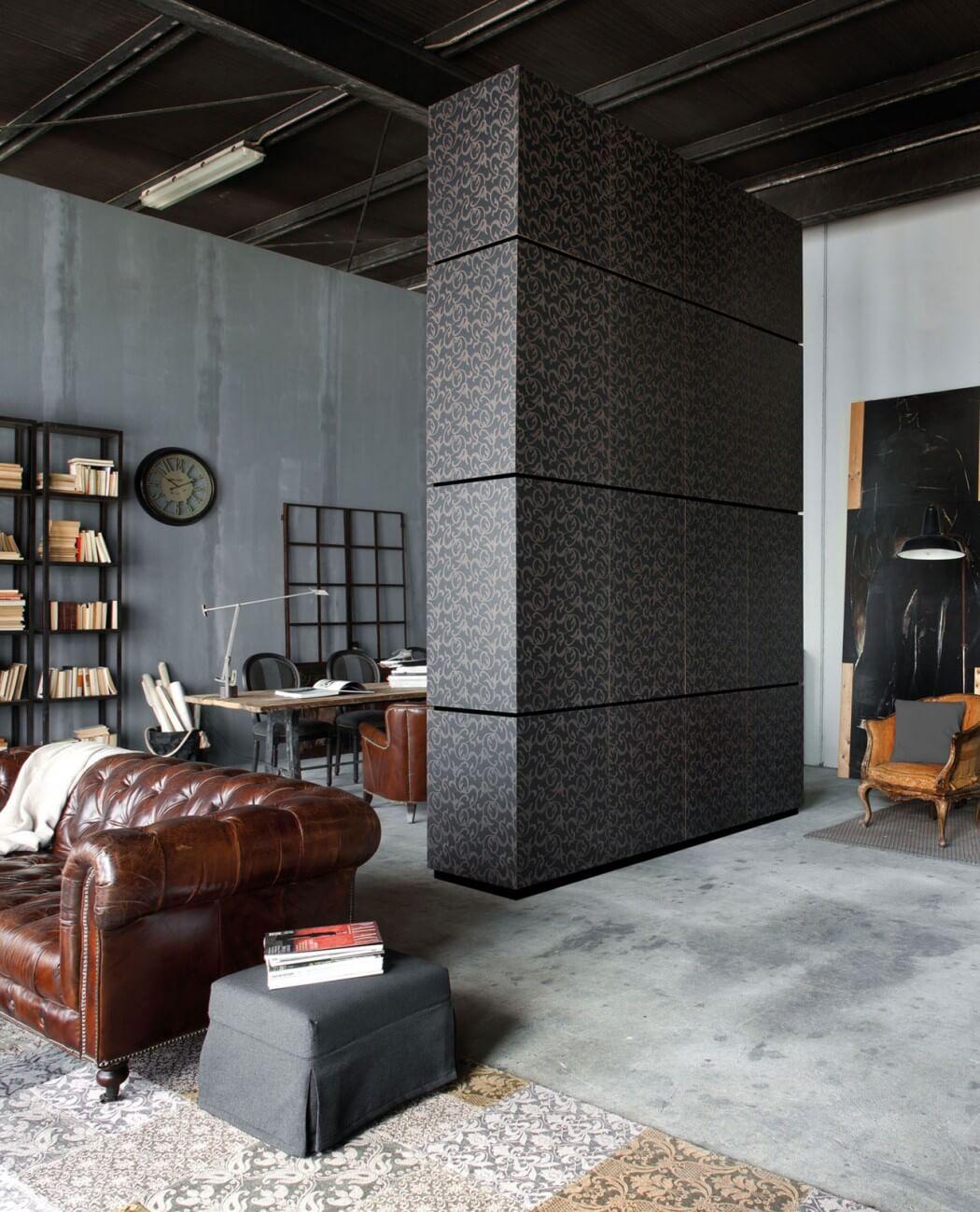 Picture Of milan industrial loft with dark industrial metals in decor  8