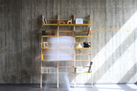 Mini Modular Library With Containers For Storage