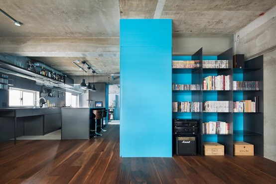 Minimalist And Industrial Apartment Design With Turquoise Accents