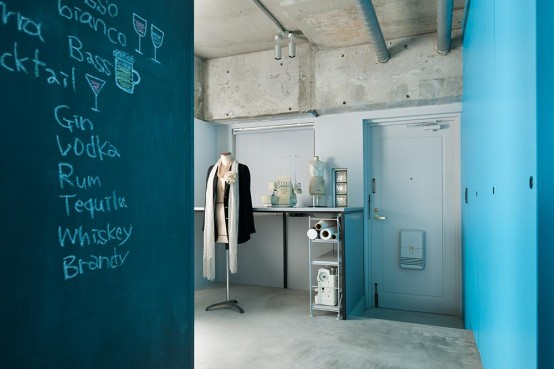 Minimalist And Industrial Apartment With Turquoise Accents