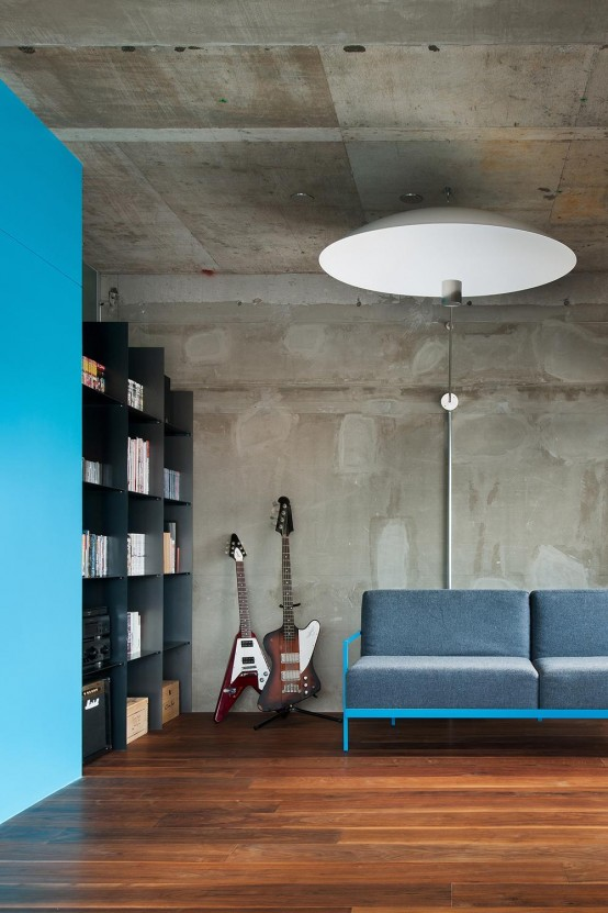 Minimalist and industrial apartment design with turquoise for Industrial minimalist design