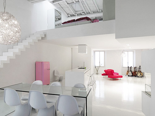 Minimalist And Modern Loft Interior Design In White Color Theme