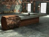 Minimalist And Natural Oak Tree Trunk Kitchen