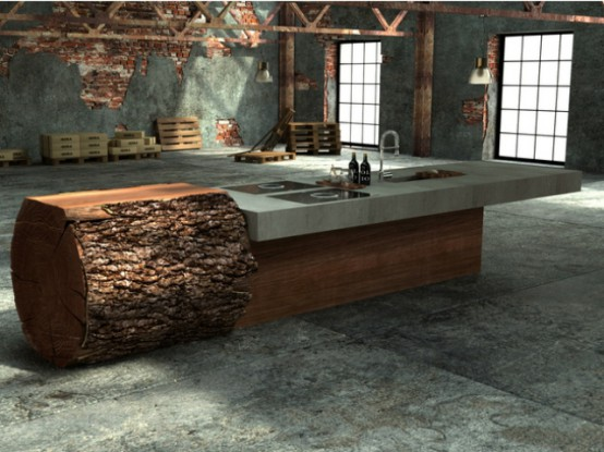 Minimalist And Natural Oak Tree Trunk Kitchen
