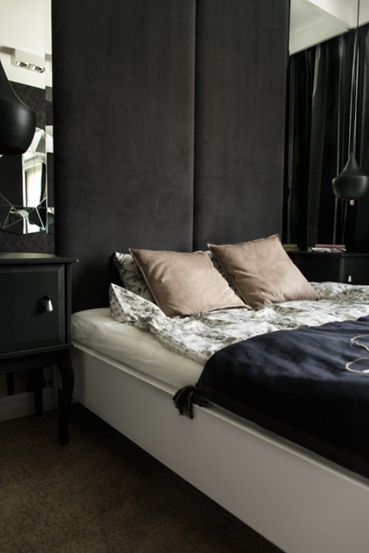 Minimalist apartment designed in dark colors and shades for Minimalist bedroom colors