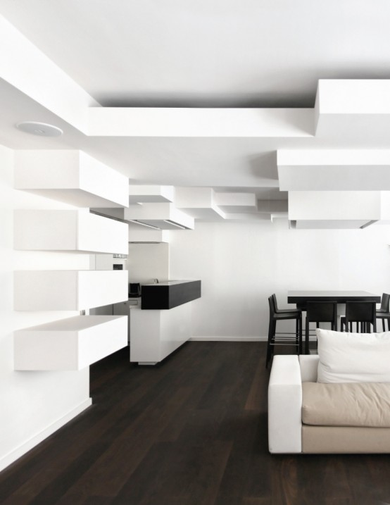 Minimalist Apartment With Complex Wall Geometry