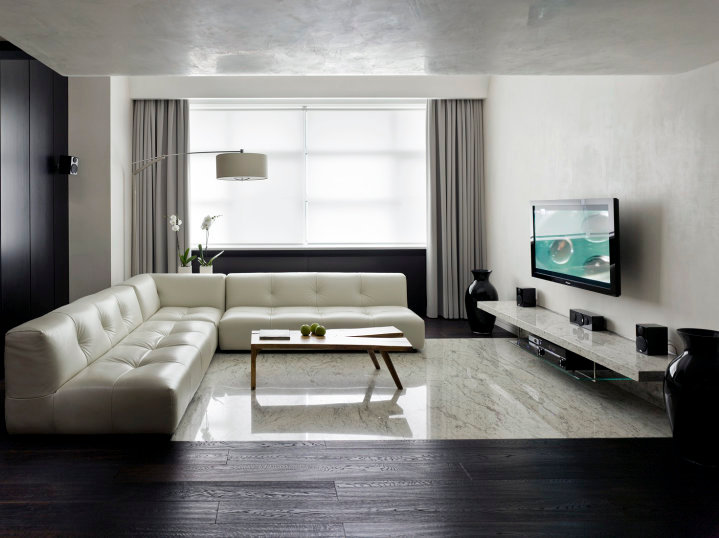 advertisement On minimalist apartment living room