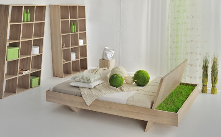 Minimalist Bed With A Tray Area