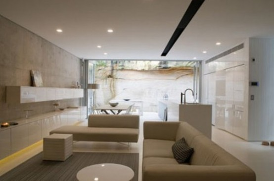 Minimalist beige and white house that looks really modern