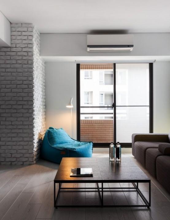 terrific black white minimalist apartment   Minimalist Black And White Apartment With Colorful Touches ...