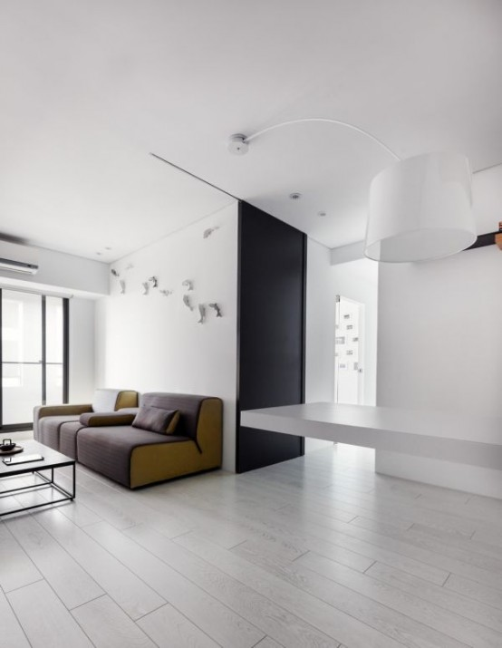 Minimalist Black And White Apartment With Colorful Touches