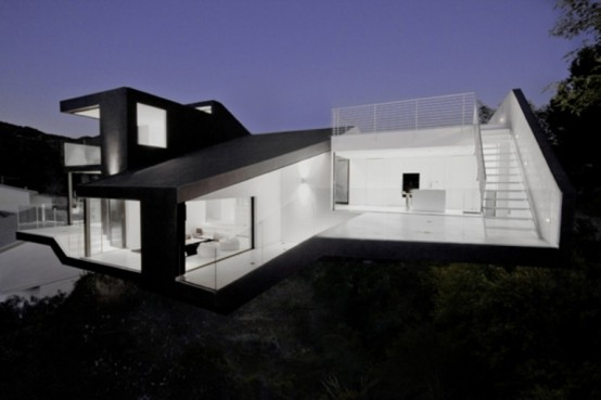 Minimalist Black And White House On The Hollywood Hills Digsdigs