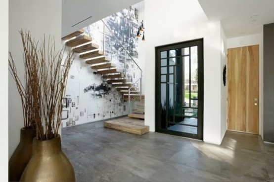 Minimalist Black Grey And White House With A Play Of Textures
