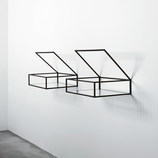 Minimalist Shelves with Black Enameled Brass Frame and The Ultra Clear Glass Bottom