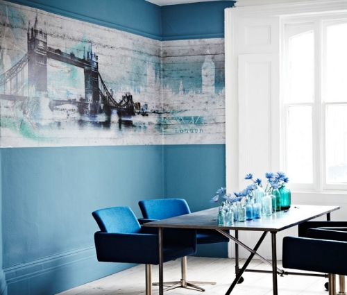 Minimalist Blue Dining Area