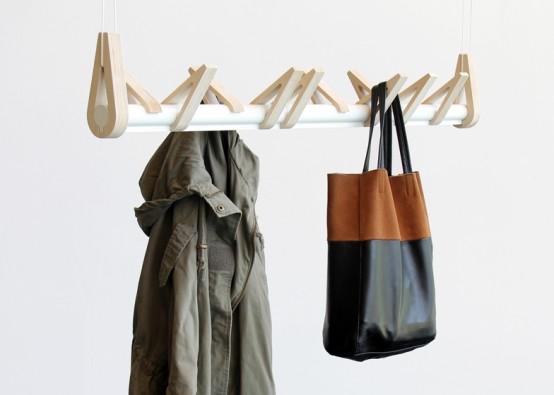 Minimalist 'Birds In A Row' Coat Rack Of Birch And Aluminum