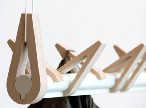 Minimalist Brids In A Row Coat Rack Of Birch And Aluminum