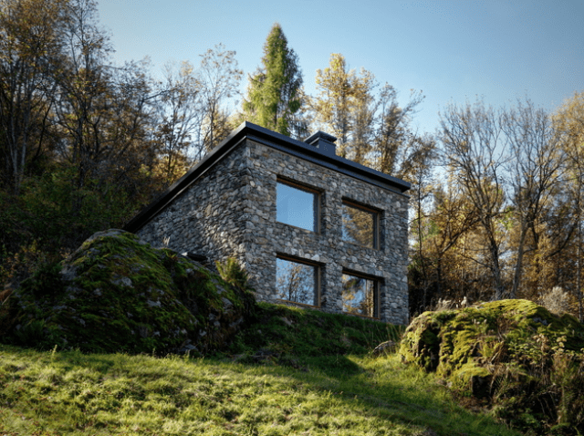 Picture Of minimalist cabin covered with stone from ruins  1